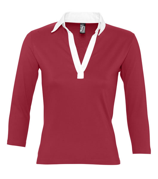 Koszulki Polo Ladies S 11329 PANCH 190 - 11329_carminered_white_S - Kolor: Carmine red / White