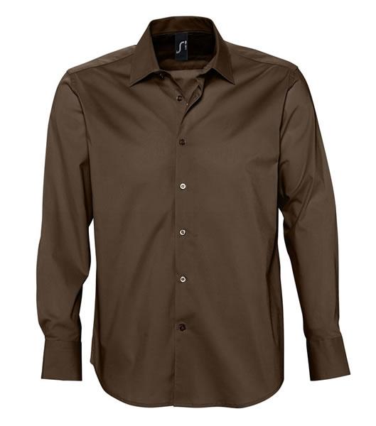 Koszula S 17000 BRIGHTON - 17000_dark_brown_S - Kolor: Dark brown