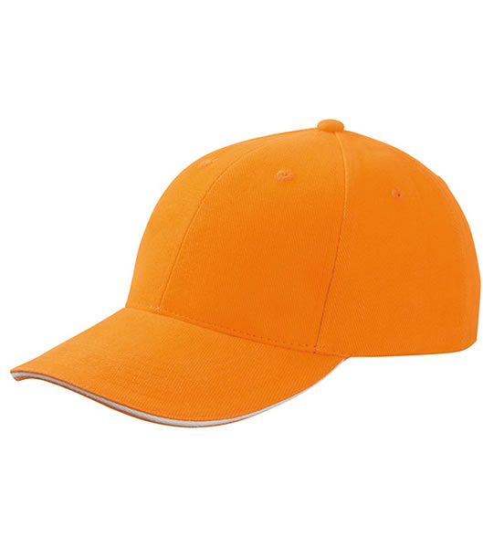Czapka MB024 6 Panel Sandwich Cap - 024_orange_white_MB - Kolor: Orange / White