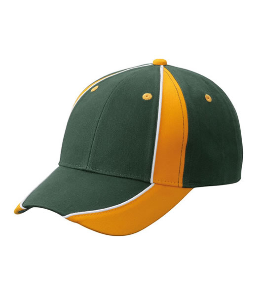 Czapka MB135 Club Cap - 135_darkgreen_goldyellow_white_MB - Kolor: Dark green / Gold yellow / White