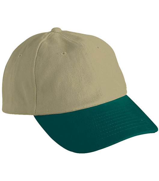 Czapka MB6111 6 PANEL RAVER CAP - 6111_beige_darkgreen_MB - Kolor: Beige / Dark green