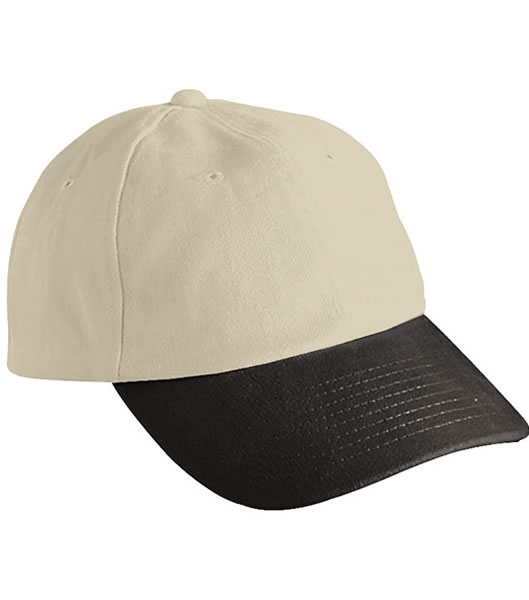 Czapka MB6111 6 PANEL RAVER CAP - 6111_lightkhaki_black_MB - Kolor: Light khaki / Black