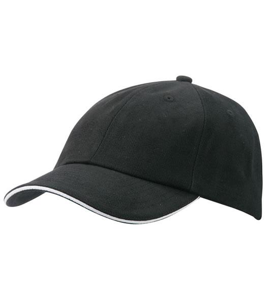 Czapka MB6112 6 PANEL SANDWICH CAP - 6112_black_white_MB - Kolor: Black / White