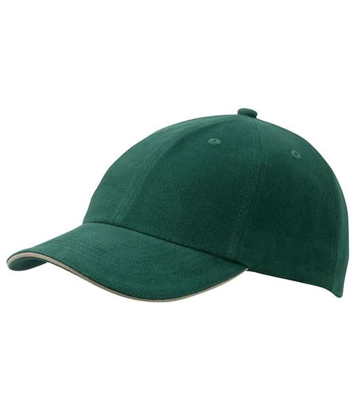 Czapka MB6112 6 PANEL SANDWICH CAP - 6112_darkgreen_beige_MB - Kolor: Dark green / Beige