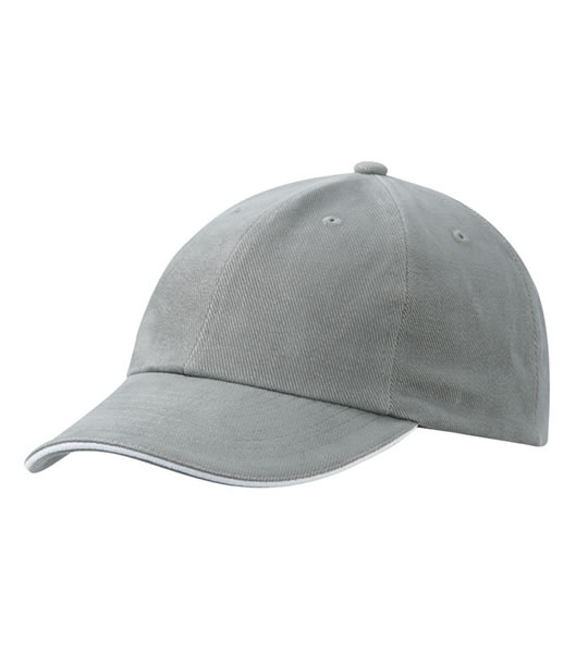 Czapka MB6112 6 PANEL SANDWICH CAP - 6112_darkgrey_white_MB - Kolor: Dark grey / White