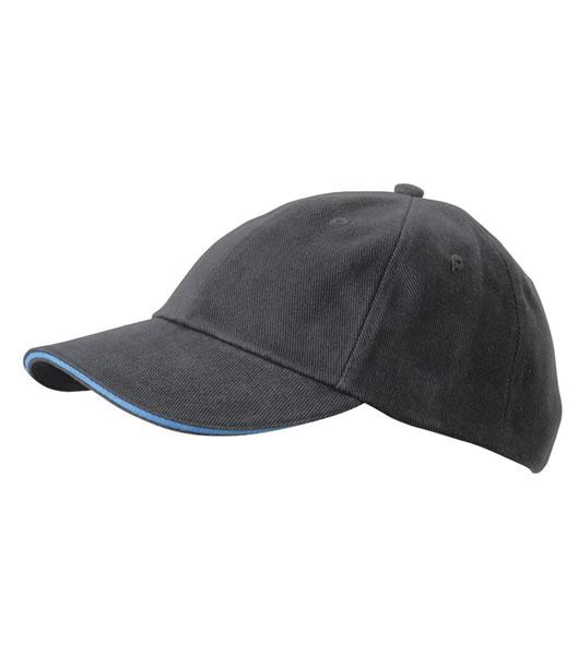 Czapka MB6112 6 PANEL SANDWICH CAP - 6112_graphite_aqua_MB - Kolor: Graphite / Aqua