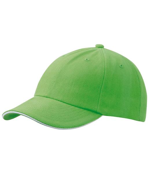 Czapka MB6112 6 PANEL SANDWICH CAP - 6112_limegreen_white_MB - Kolor: Lime green / White