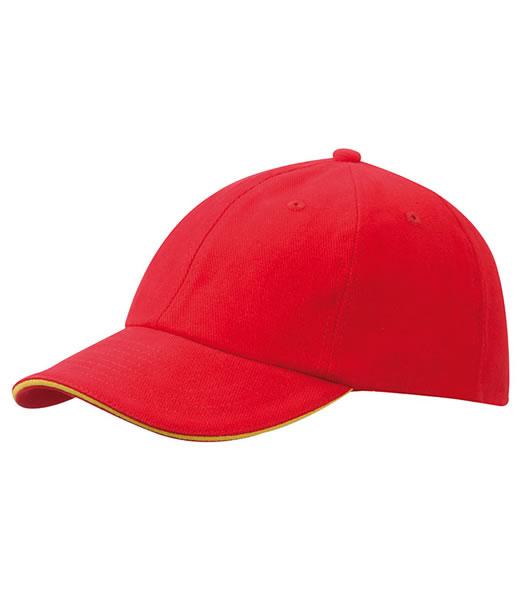 Czapka MB6112 6 PANEL SANDWICH CAP - 6112_signalred_goldyellow_MB - Kolor: Signal red / Gold yellow