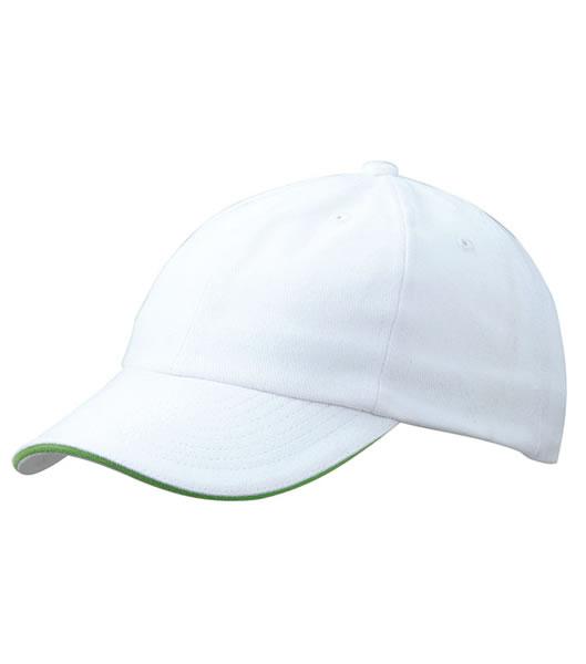 Czapka MB6112 6 PANEL SANDWICH CAP - 6112_white_limegreen_MB - Kolor: White / Lime green