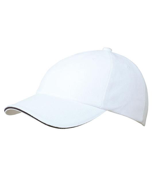 Czapka MB6112 6 PANEL SANDWICH CAP - 6112_white_navy_MB - Kolor: White / Navy