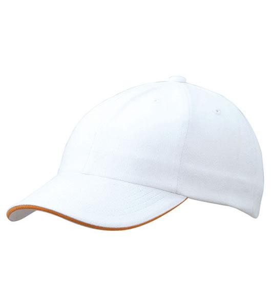 Czapka MB6112 6 PANEL SANDWICH CAP - 6112_white_orange_MB - Kolor: White / Orange