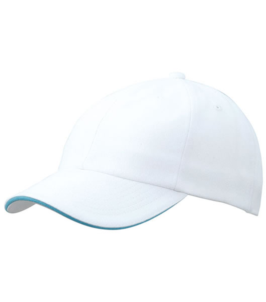 Czapka MB6112 6 PANEL SANDWICH CAP - 6112_white_turquoise_MB - Kolor: White / Turquoise