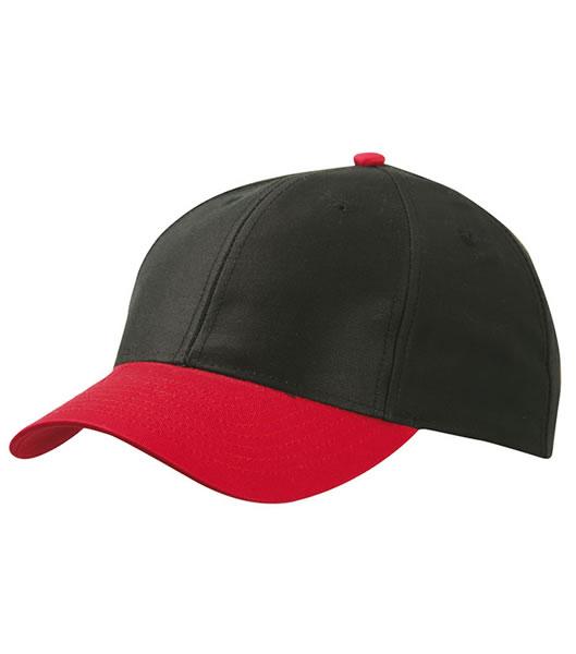 Czapka MB6131 6 Panel Baseball Cap - 6131_black_red_MB - Kolor: Black / Red