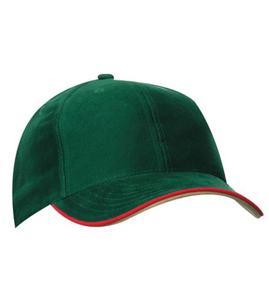 Czapka MB6197 Double Sandwich Cap - 6197_darkgreen_red_khaki_MB - Kolor: Dark green / Red / Khaki