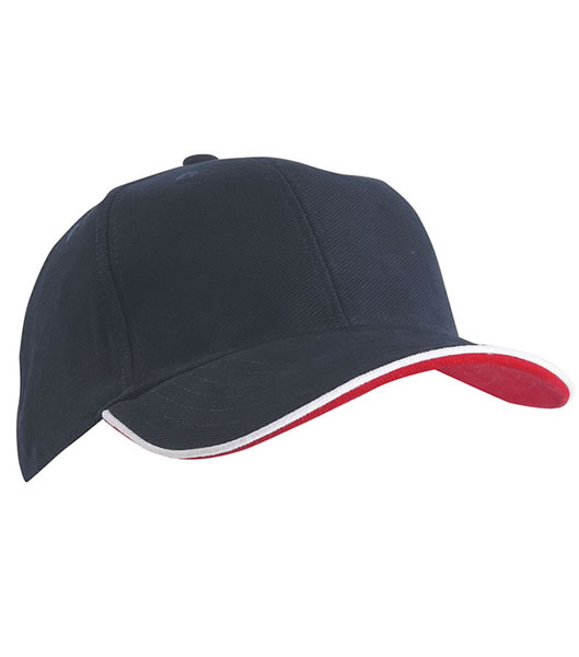 Czapka MB6197 Double Sandwich Cap - 6197_navy_white_red_MB - Kolor: Navy / White / Red