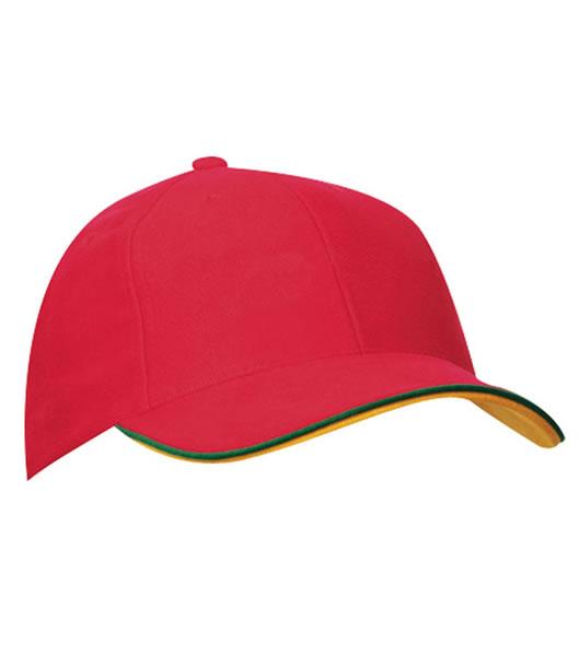 Czapka MB6197 Double Sandwich Cap - 6197_red_green_goldyellow_MB - Kolor: Orange / White / Royal