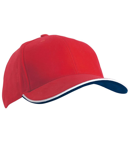 Czapka MB6197 Double Sandwich Cap - 6197_red_white_navy_MB - Kolor: Red / White / Navy