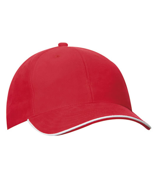 Czapka MB6197 Double Sandwich Cap - 6197_red_white_red_MB - Kolor: Red / White / Red