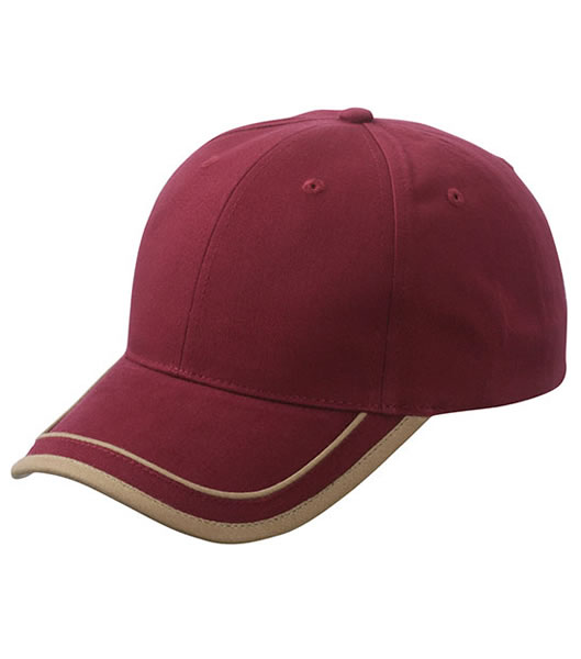 Czapka MB6501 Piping Cap - 6501_burgundy_beige_MB - Kolor: Burgundy / Beige