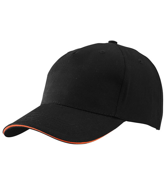 Czapka MB6526 5 Panel Sandwich Cap - 6526_black_orange_MB - Kolor: Black / Orange
