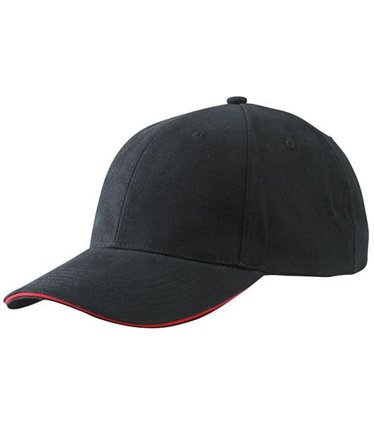 Czapka MB6541 Light brushed Sandwich Cap - 6541_black_red_MB - Kolor: Black / Red
