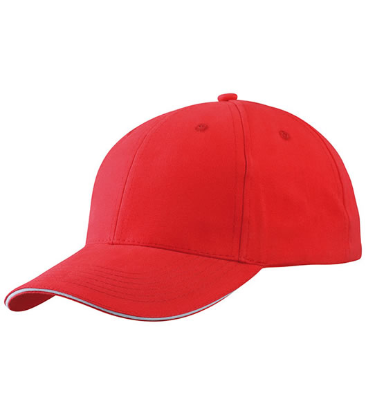 Czapka MB6541 Light brushed Sandwich Cap - 6541_red_white_MB - Kolor: Red / White