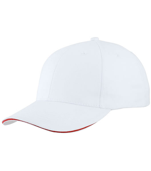 Czapka MB6541 Light brushed Sandwich Cap - 6541_white_red_MB - Kolor: White / Red
