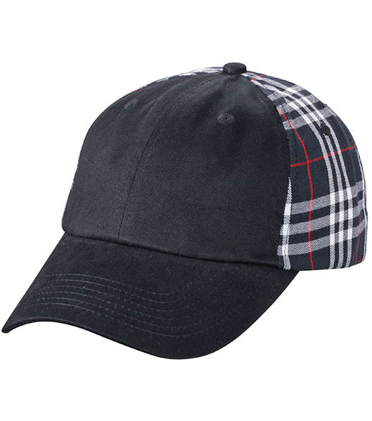 Czapka MB6558 Checked Cap - 6558_black_black_MB - Kolor: Black / Black