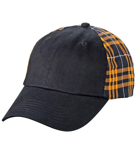 Czapka MB6558 Checked Cap - 6558_black_orange_MB - Kolor: Black / Orange