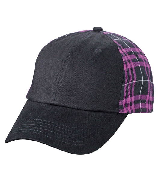 Czapka MB6558 Checked Cap - 6558_black_purple_MB - Kolor: Black / Purple