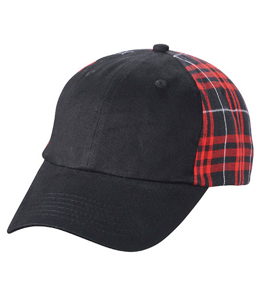 Czapka MB6558 Checked Cap - 6558_black_red_MB - Kolor: Black / Red