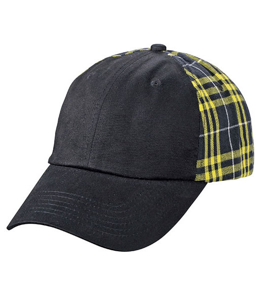 Czapka MB6558 Checked Cap - 6558_black_yellow_MB - Kolor: Black / Yellow