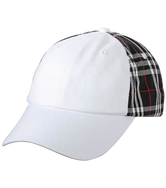 Czapka MB6558 Checked Cap - 6558_white_black_MB - Kolor: White / Black