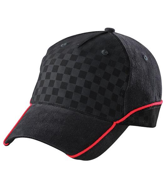 Czapka MB6560 Racing Cap Embossed - 6560_black_black_red_MB - Kolor: Black / Black / Red