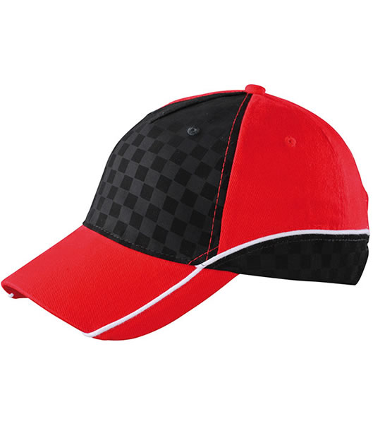 Czapka MB6560 Racing Cap Embossed - 6560_red_black_white_MB - Kolor: Red / Black / White