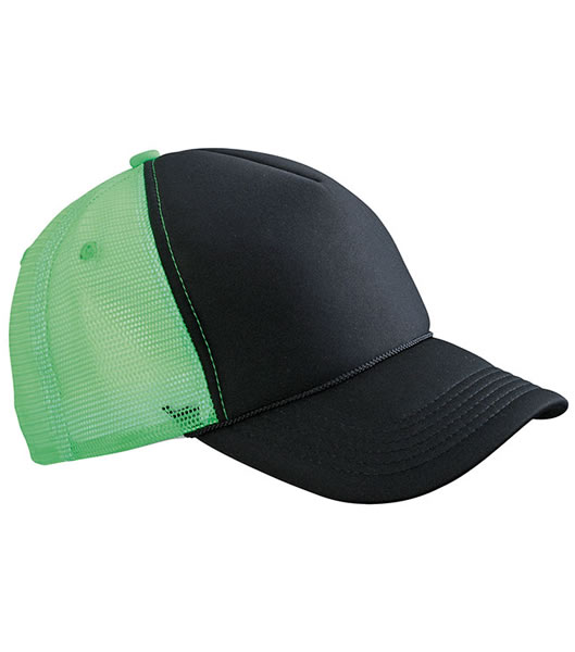 Czapka MB6550 Retro Mesh Cap - 6550_black_neongreen_MB - Kolor: Black / Neon green