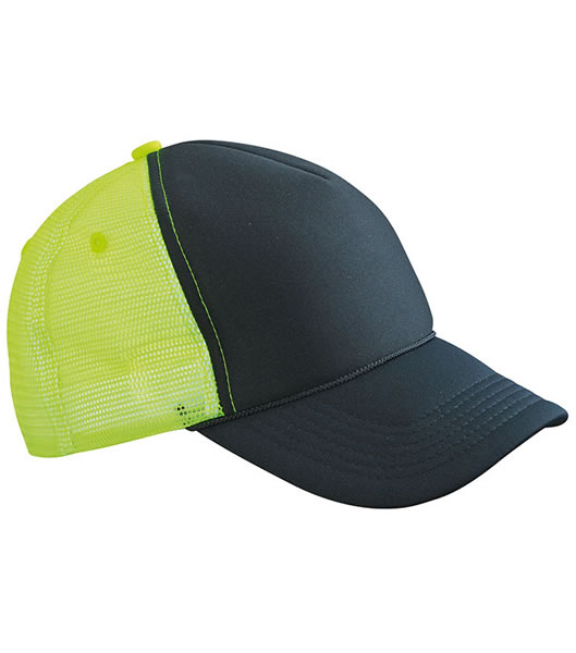 Czapka MB6550 Retro Mesh Cap - 6550_black_neonyellow_MB - Kolor: Black / Neon yellow