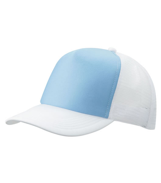 Czapka MB070 5 Panel Polyester Mesh Cap - 070_lightblue_white_MB - Kolor: Light blue / White
