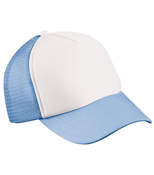 Czapka MB070 5 Panel Polyester Mesh Cap - 070_white_lightblue_MB - Kolor: White / Light blue