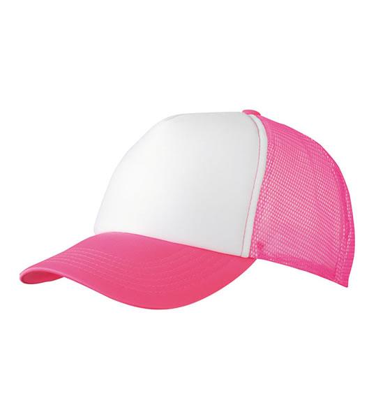 Czapka MB070 5 Panel Polyester Mesh Cap - 070_white_neonpink_MB - Kolor: White / Neon pink