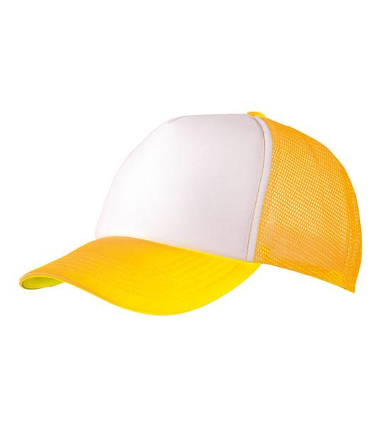 Czapka MB070 5 Panel Polyester Mesh Cap - 070_white_neonyellow_MB - Kolor: White / Neon yellow