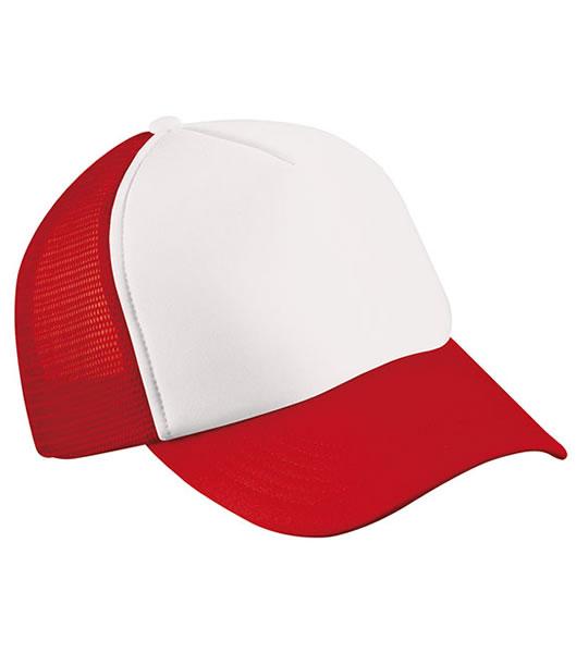 Czapka MB070 5 Panel Polyester Mesh Cap - 070_white_red_MB - Kolor: White / Red