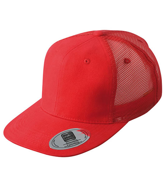 Czapka MB6509 6 Panel Flat Peak Cap - 6509_red_MB - Kolor: Red