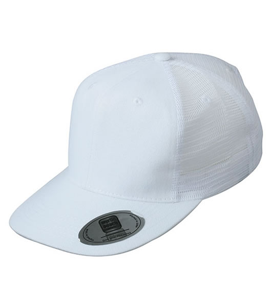 Czapka MB6509 6 Panel Flat Peak Cap - 6509_white_MB - Kolor: White