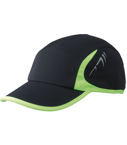Czapka MB6544 Running Cap 4 Panel - 6544_black_neonyellow_MB - Kolor: Black / Neon yellow