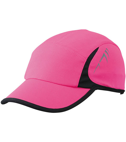 Czapka MB6544 Running Cap 4 Panel - 6544_pink_black_MB - Kolor: Pink / Black