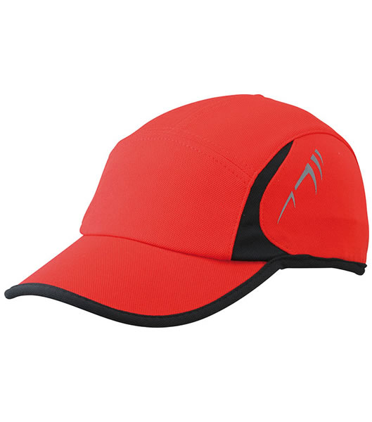 Czapka MB6544 Running Cap 4 Panel - 6544_red_black_MB - Kolor: Red / Black