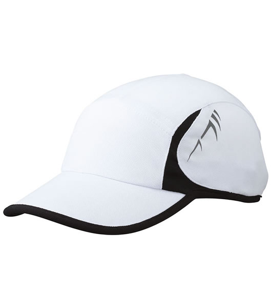Czapka MB6544 Running Cap 4 Panel - 6544_white_black_MB - Kolor: White / Black