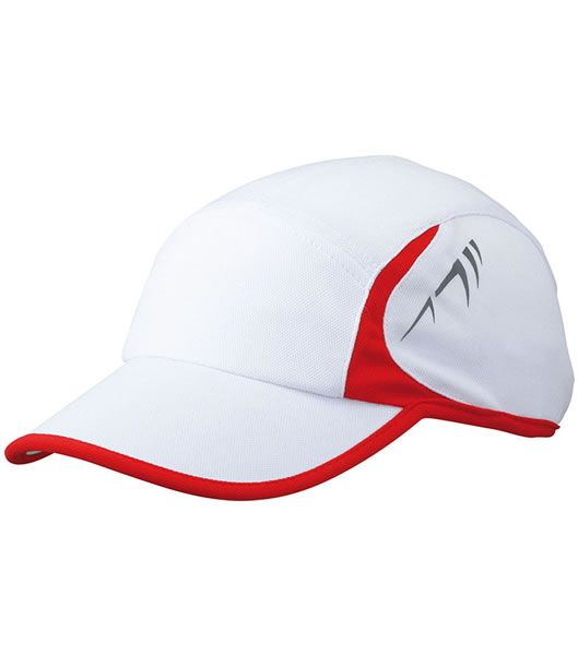 Czapka MB6544 Running Cap 4 Panel - 6544_white_red_MB - Kolor: White / Red