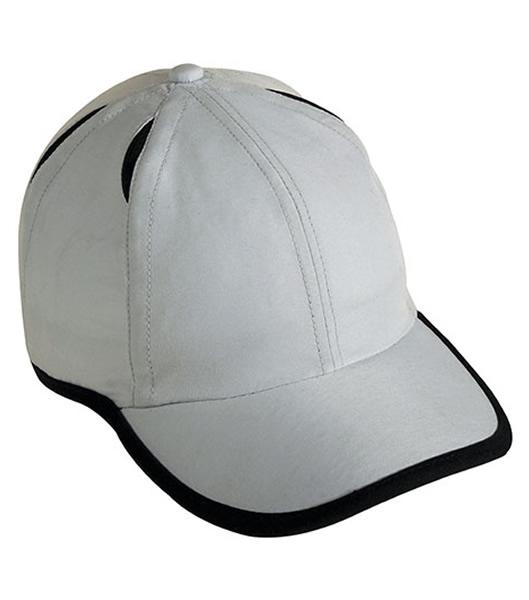 Czapka MB6156 Micro-Edge Sports Cap - 6156_lightgrey_black_MB - Kolor: Light grey / Black
